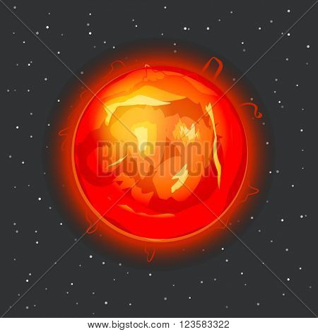 Sun in space vector illustration