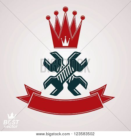 Simple Vector Spanners Crossed. Graphic Reparation Utensil With Imperial Crown And Decorative Ribbon