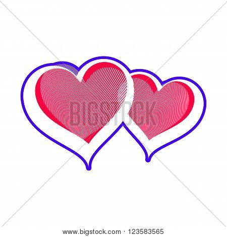 Two loving hearts vector illustration. Romantic rendezvous conceptual symbol. Valentine's day design element isolated on white background.