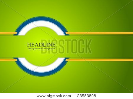 Abstract colorful corporate tech background. Green, orange and blue contrast colors. Vector graphic brochure design