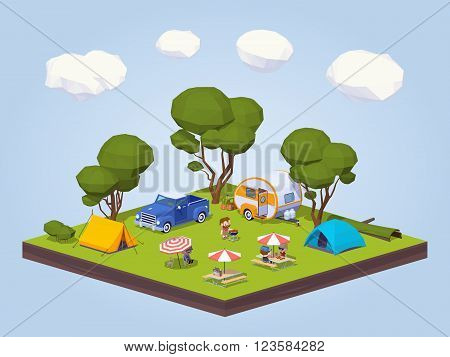 Barbecue in the tourist camp. 3D lowpoly isometric vector concept illustration