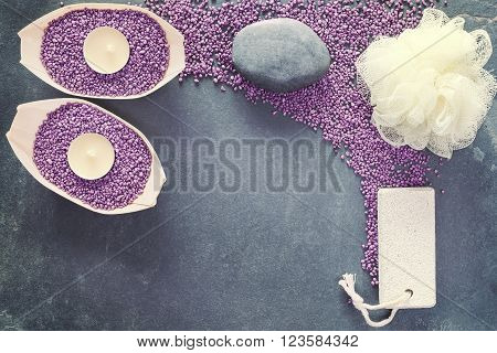 Vintage Toned Spa And Wellness Background With Copy Space.
