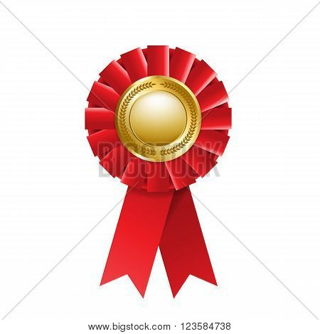 Red award rosette isolated on a white background. Award ribbon. Vector design element. EPS 10