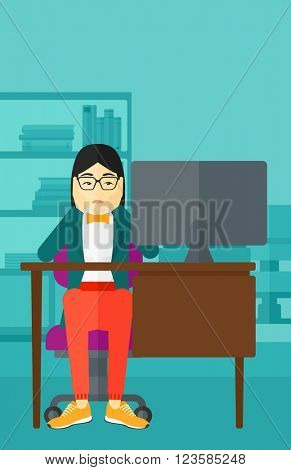 Tired employee sitting in office.