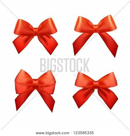 Ribbons Set For Christmas Gifts. Red Gift Bows With Ribbons. Red Gift Ribbons And Bows For New Year