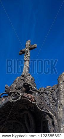 Stone cross in recoleta cemetery in buenos aires