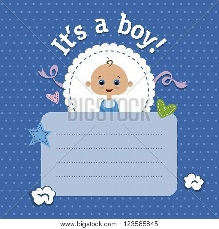 Baby shower invitation for boy. New baby shower card. It's a boy. Vector design template