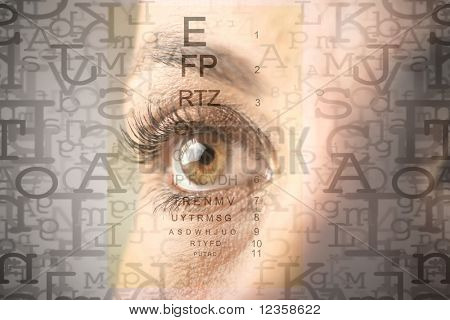 Woman's eye and alphabet letters and ophthalmic table on the background
