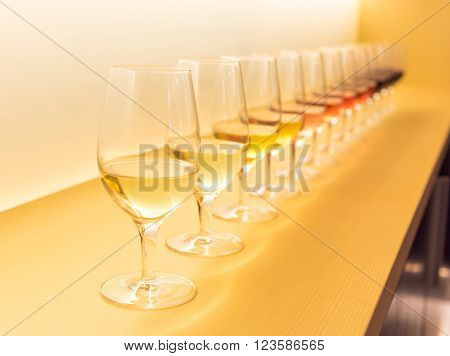 Different Color Wine On A Shelf