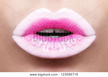 Passionate pink lips,macro photography. Small depth of field