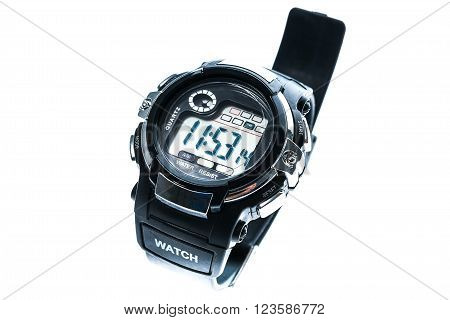 Smart Sport Black Digital Wristwatch Isolated On A White Background.
