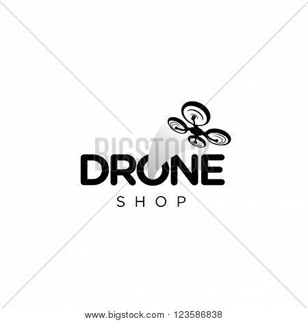 Drone Vector Logo with a drone silhoette.