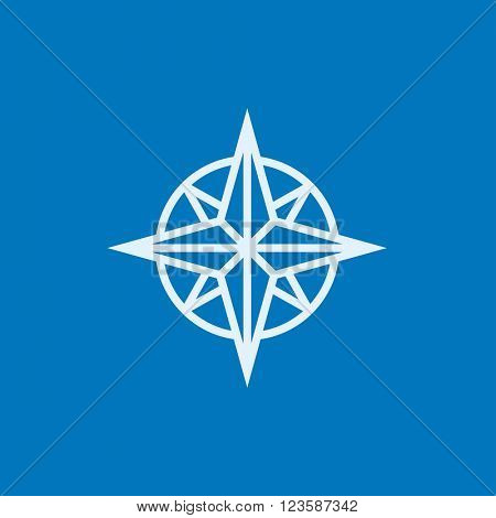 Compass wind rose line icon.