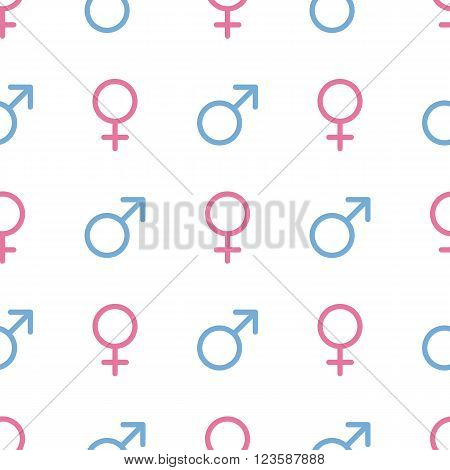 Vector seamless pattern. Male and female symbols. Gender line icons