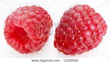 raspberry; objects on white background