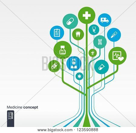 Abstract medicine background with lines, circles and icons. Growth tree concept with medical, health, healthcare, nurse, tooth, thermometer, pills and cross icon. Vector illustration.