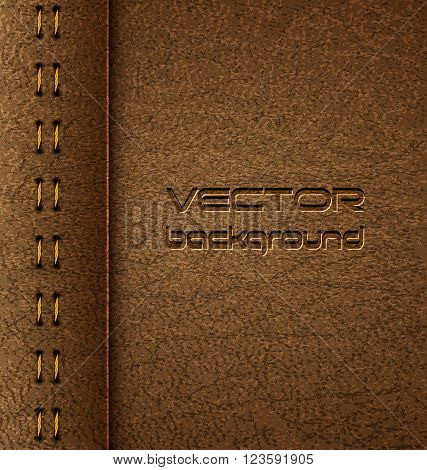 Realistic vector brown leather diary texture and stitches. Vector Illustration. EPS 10.