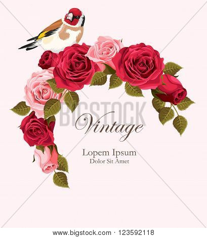 Beautiful vintage vector card with red and pink roses wreath and goldfinch