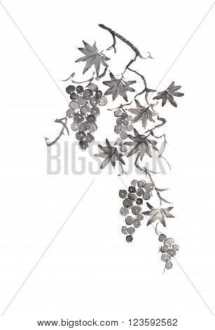 Grapevine Japanese style original sumi-e ink painting. Great for greeting cards or texture design.