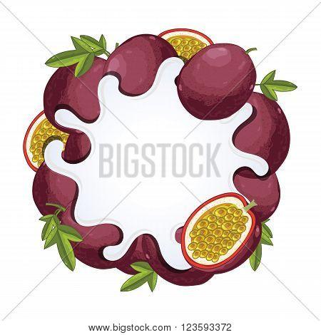 Yogurt splash isolated on passion fruit. Milk splash. Passion fruit yogurt. Yogurt Packaging Design Template. Vector illustration.
