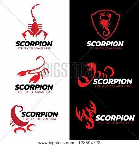 Red Scorpion logo vector set art design