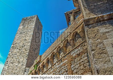 antique tower in San Gimignano in Italy