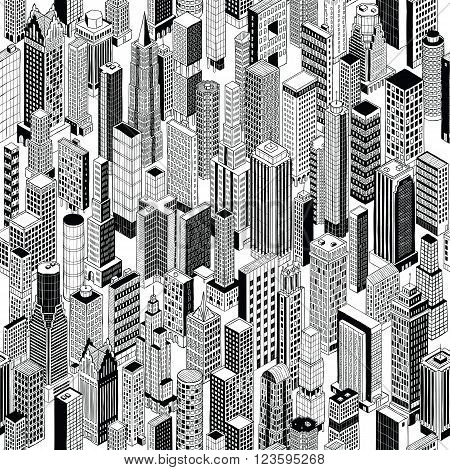 Skyscraper City Seamless Pattern is hand drawing of different high-rise buildings in isometric projection. Illustration is in eps8 vector mode.