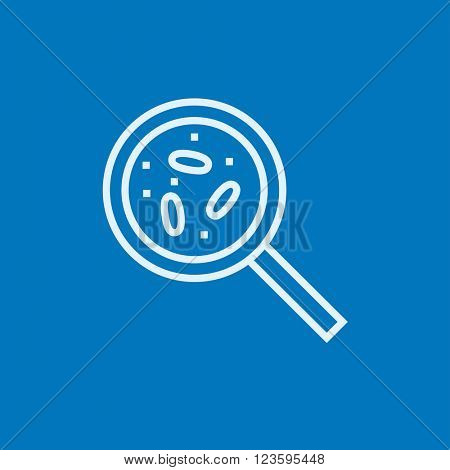 Microorganisms under magnifier line icon.