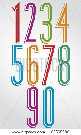 Colorful tall numbers with white outline. Numeration from 0 to 9