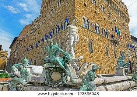 Neptune statue in Piazza della Signoria in Florence Italy
