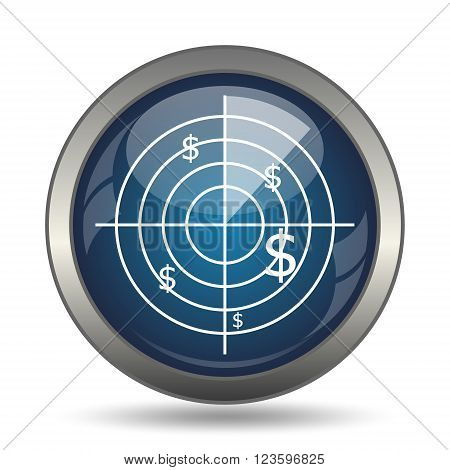 Radar searching money icon. Internet button on white background.