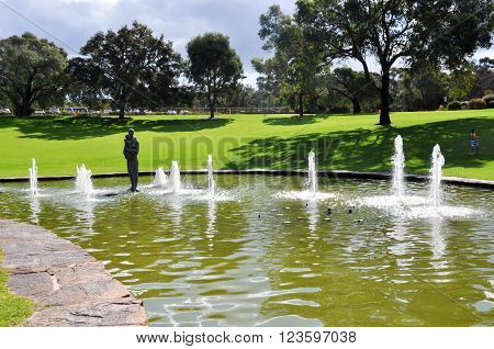 PERTH,WA,AUSTRALIA-AUGUST 22,2015: Pioneer Women's Memorial fountain at King's Park botanical gardens in Perth, Western Australia.