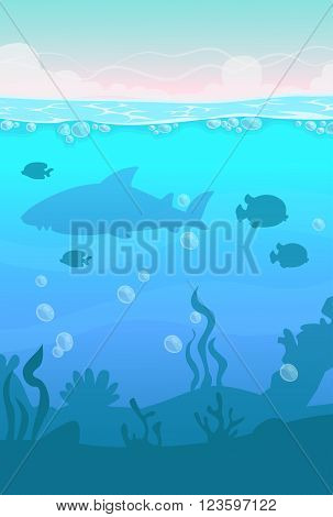Cartoon vector vertical underwater landscape, sea life illustration