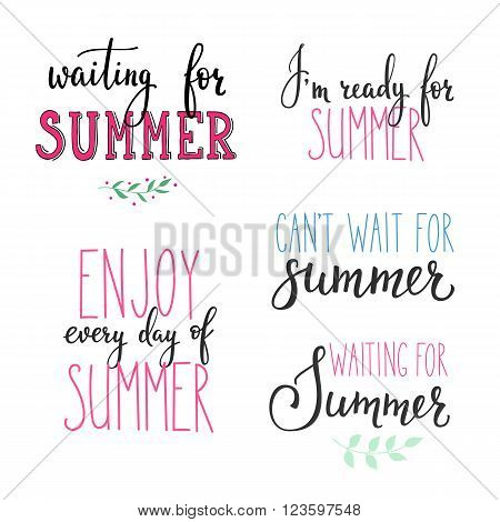 Hello summer lettering typography set. Calligraphy summer postcard or poster graphic design lettering element. Hand written calligraphy style summer postcard. Simple vector brush calligraphy.