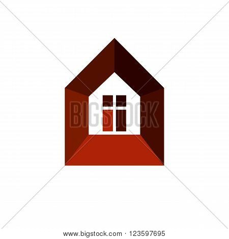 Real estate simple icon isolated on white background abstract house depiction. Property vector symbol conceptual sign best for use in advertising and branding.