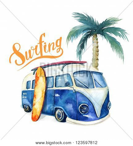 Hand drawn watercolor ocean surfing set. Beach holiday tropical travel adventure. Island with palm retro car wagon bus surfboard sunglasse shell and flower hibiscus. Watercolour sea sport activity.