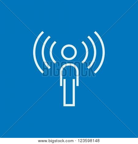 Man with soundwaves line icon.
