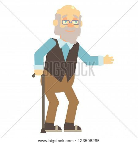 elderly, old man, grandpa, grandfather, with glasses and vest with cane