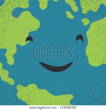 Earth face closeup. Earth day concept image