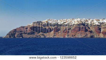 Beautiful red island of Santorini from long distance Greece