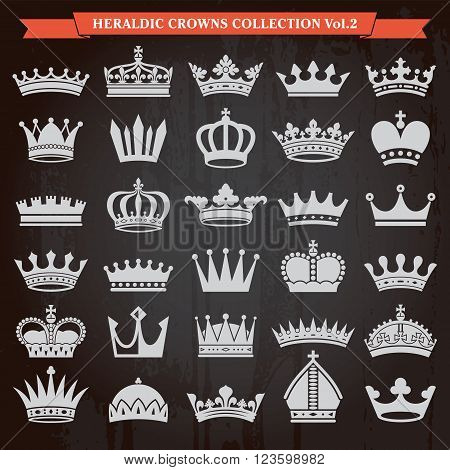 Set of crown heraldic silhouette icons vector