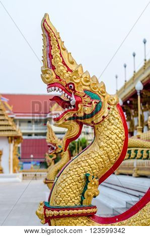 Beautiful Statue of Naga in temple, Thailand