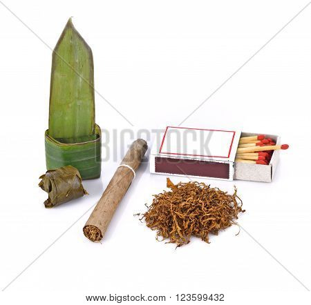Tobacco cigarette and food wrapped in leaves on white background