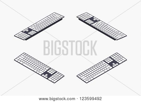 Set of the isometric PC keyboards. The objects are isolated against the white background and shown from different sides