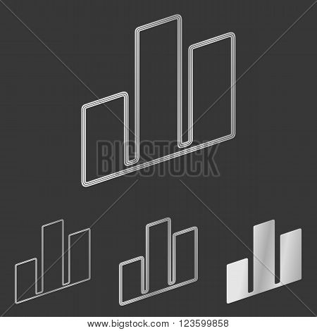 Silver line architecture symbol logo design set