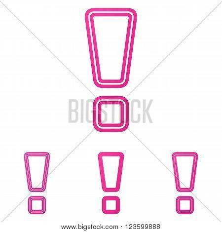 Pink line exclamation mark logo design set