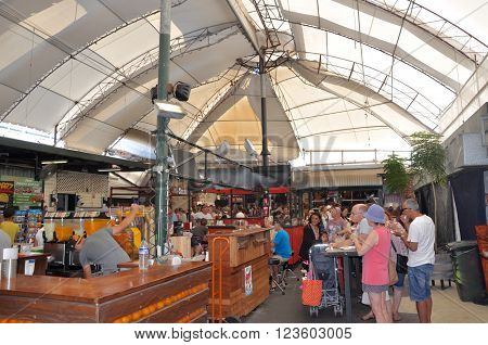 FREMANTLE,WA,AUSTRALIA-FEBRUARY 21,2015: People at the historic Fremantle Markets in Fremantle, Western Australia.