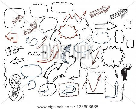 Hand-drawn arrows and speech bubbles illustration set