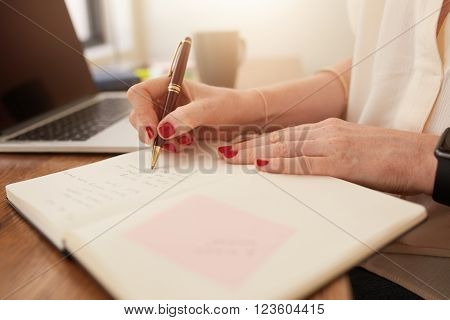 Businesswoman Writing In Her Personal Organizer
