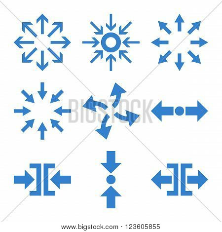 Compress and Explode Arrows vector icon set. Collection style is cobalt flat symbols on a white background.
